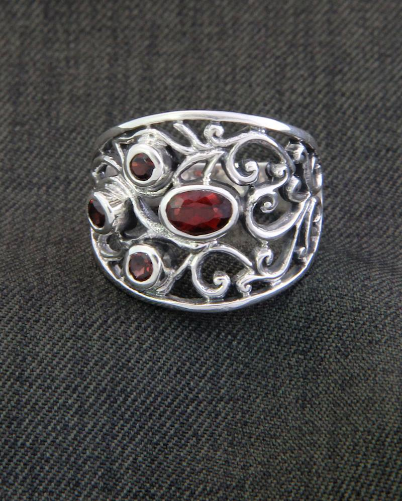 Sterling Silver and Garnet Ring from Indonesia, 'Tree of Life'