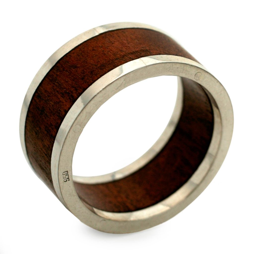 Men's Wood and Silver Band Ring, 'Forest Halo'