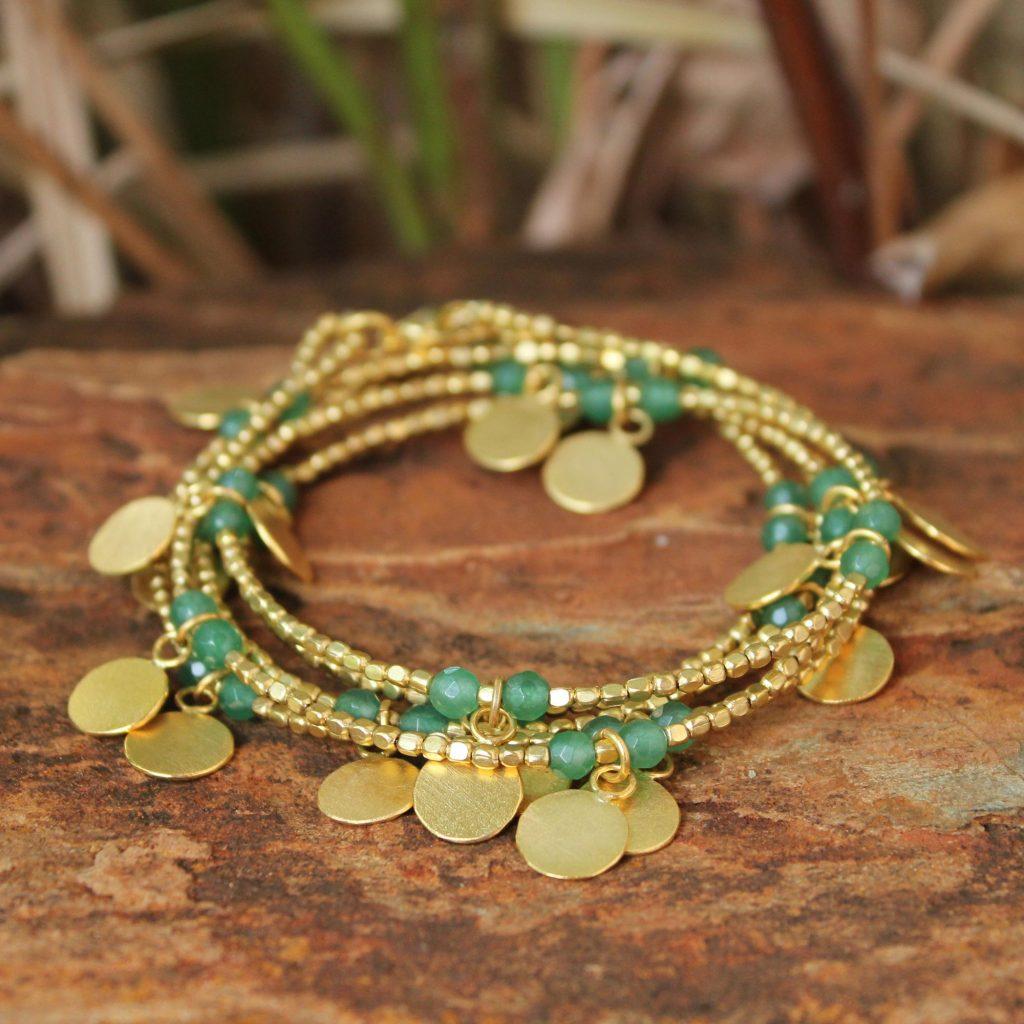 Gold plated wrap bracelet, 'Verdant Suns'