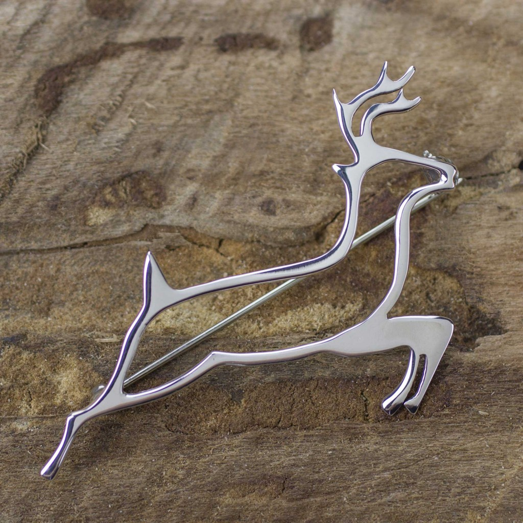 Sterling Silver Brooch Pin Taxco Artisan Jewelry, 'Deer Protector'