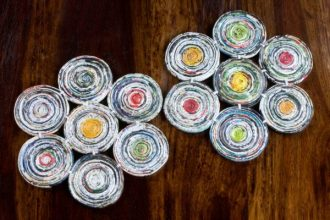 Handcrafted Floral Recycled Paper Hot Plates (Pair), 'Floral Spin'