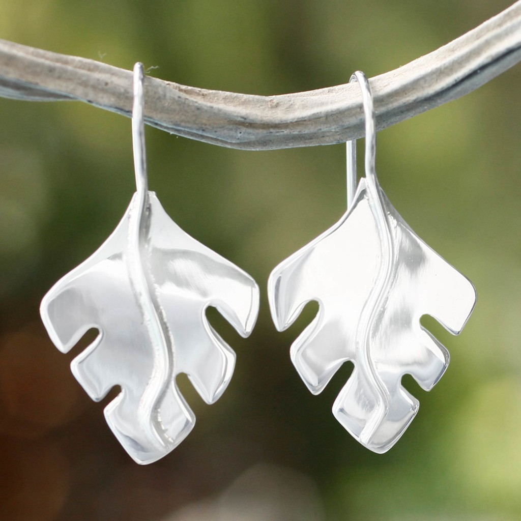 Collectible Taxco Silver Jewelry Drop Earrings, 'Falling Leaves'