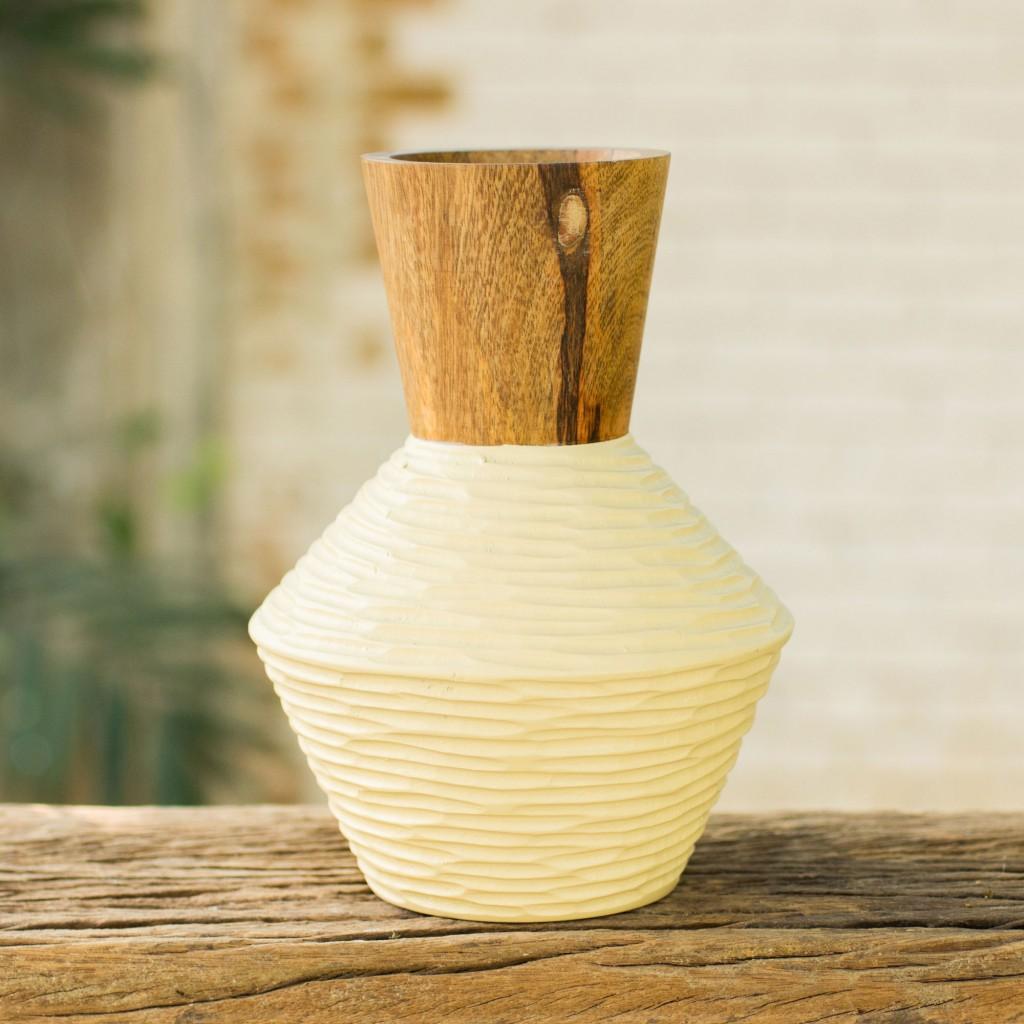 mango wood vase