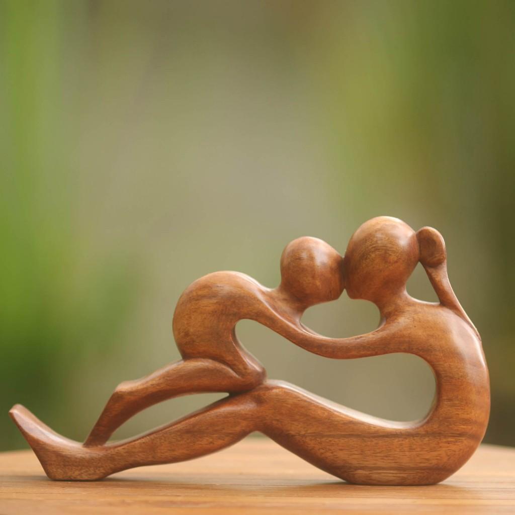 mother child wood sculpture
