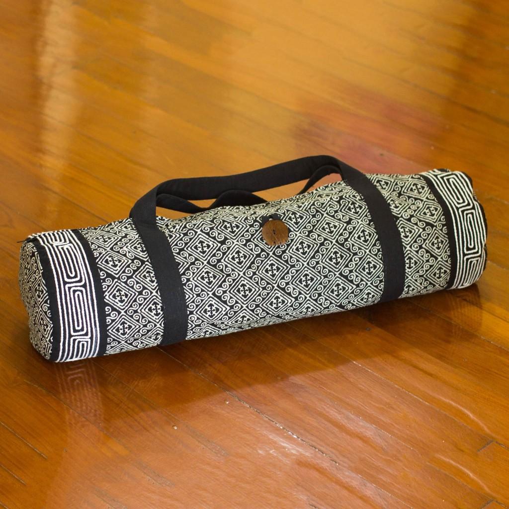 Cotton yoga mat bag, 'Night Passion' Fair Trade NOVICA meditation pad