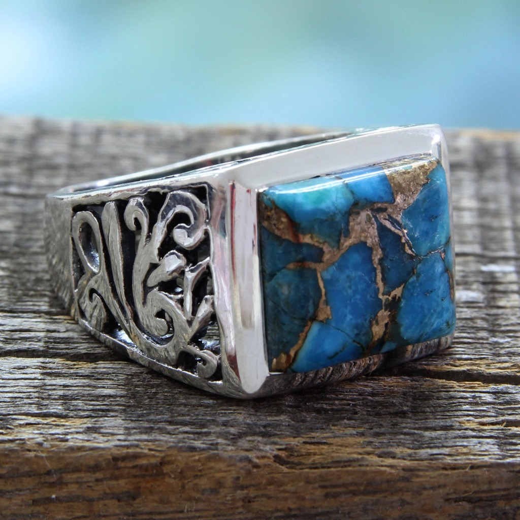 Hand Crafted Sterling Silver Composite Turquoise Ring, 'Fascination'