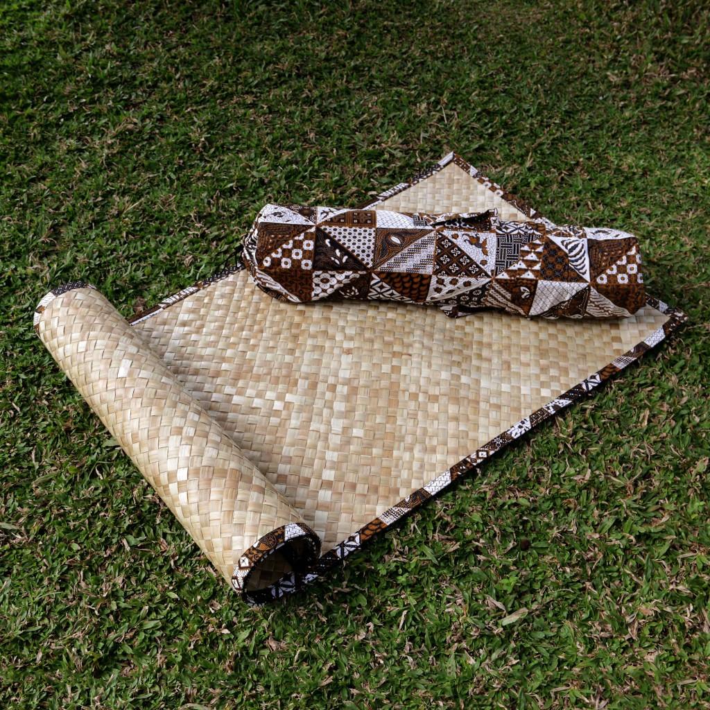 Natural fiber yoga mat with batik bag, 'Nusantara' meditation Fair Trade Peace NOVICA