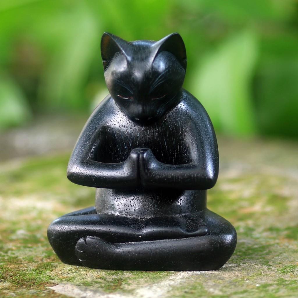 Black Cat Praying in a Yoga Pose Signed Wood Sculpture, 'Black Cat Prayer'