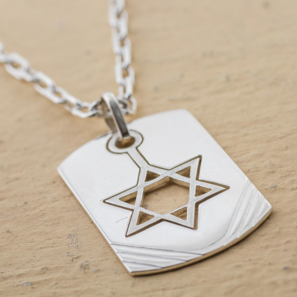 Sterling Silver Pendant Necklace Star of David from Peru, 'Star of David Tag'