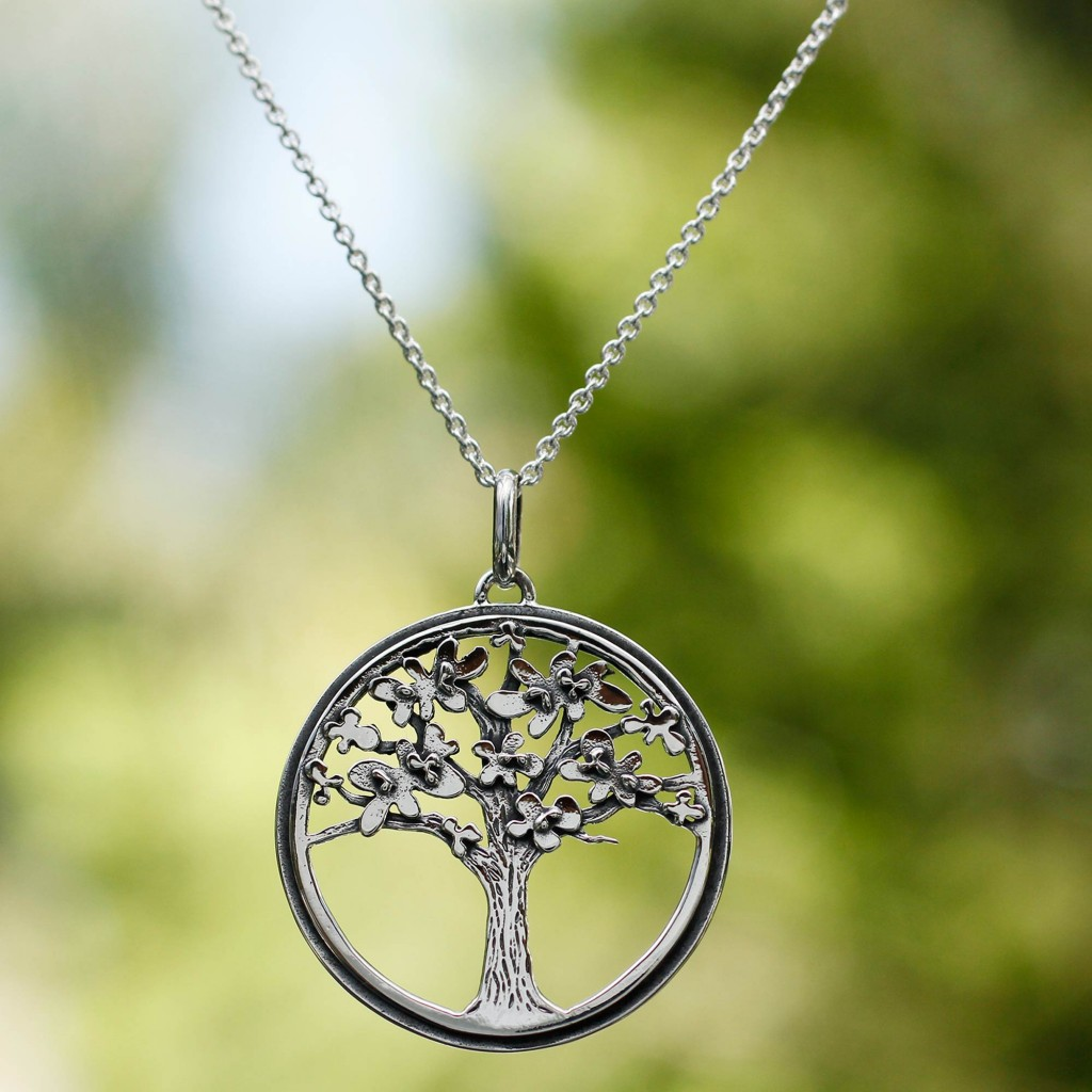 Unique Mexican Sterling Silver Tree Necklace, 'Joyous Jacaranda'