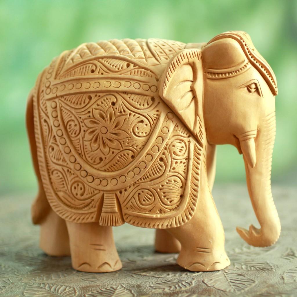 handcarved wood elephant sculpture