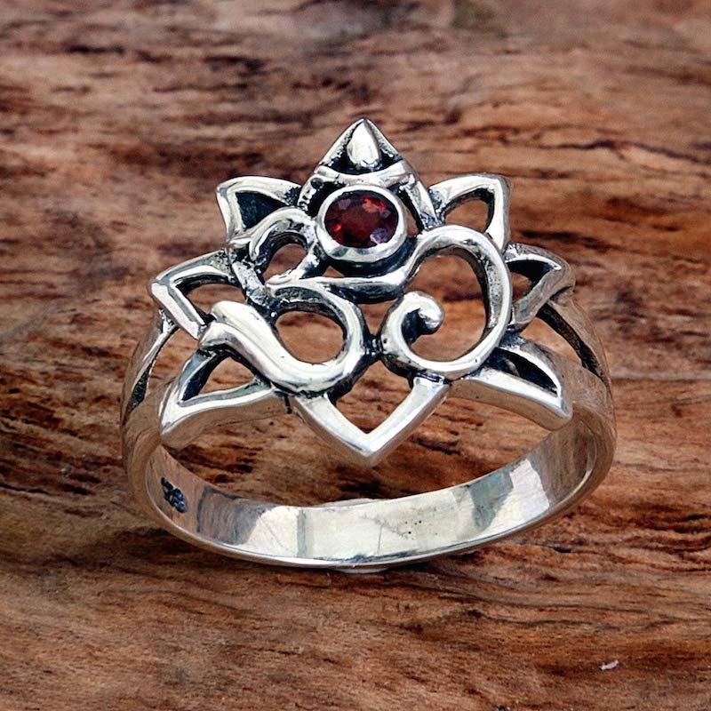Garnet cocktail ring Jeweled Om Sterling Silver symbol peace NOVICA Fair Trade