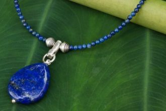 Handmade Lapis Lazuli Pendant .925 Sterling Silver Necklace Blue Lady