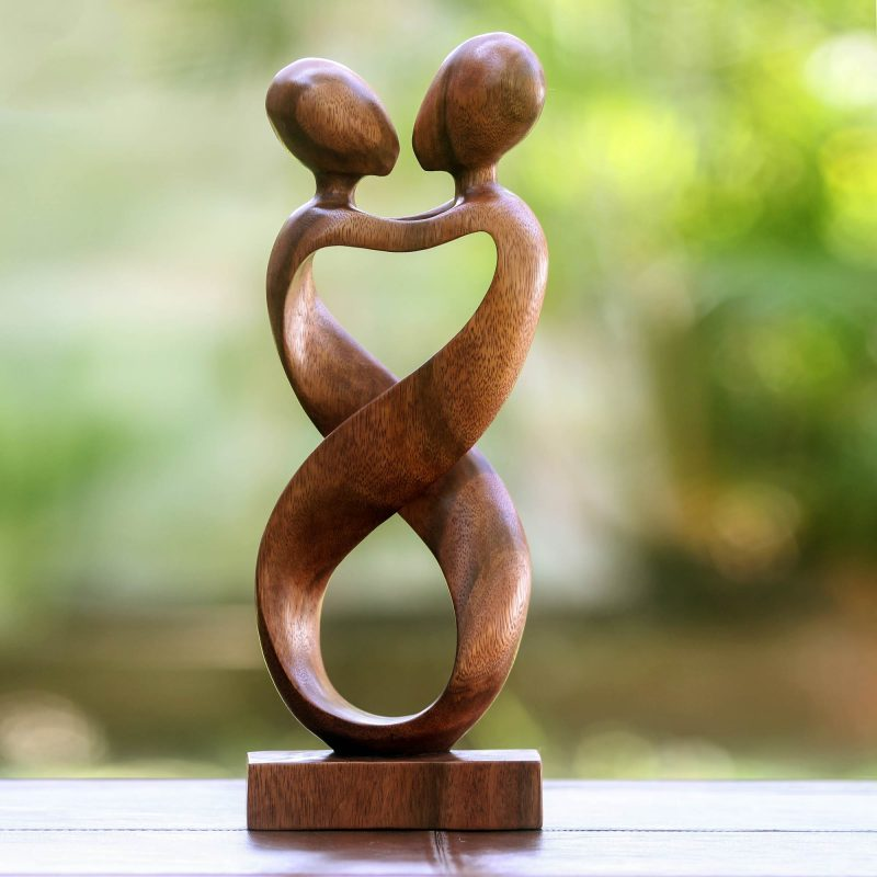 Heart to Heart romantic wood sculpture hand carved artisan-made original art NOVICA