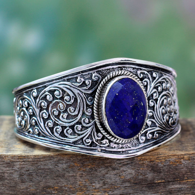 Indian Sterling Silver Cuff Lapis Lazuli Bracelet Blue Forest NOVICA Fair Trade