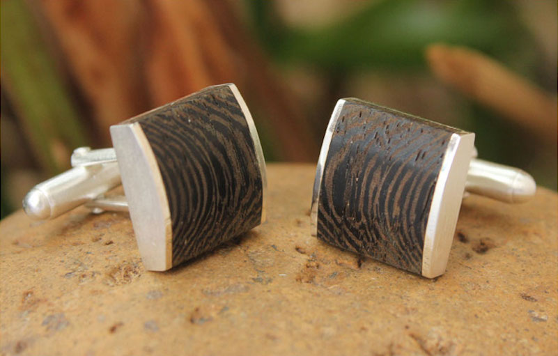 Majestic Nature cufflinks elm tree wood sterling silver men's art jewelry NOVICA