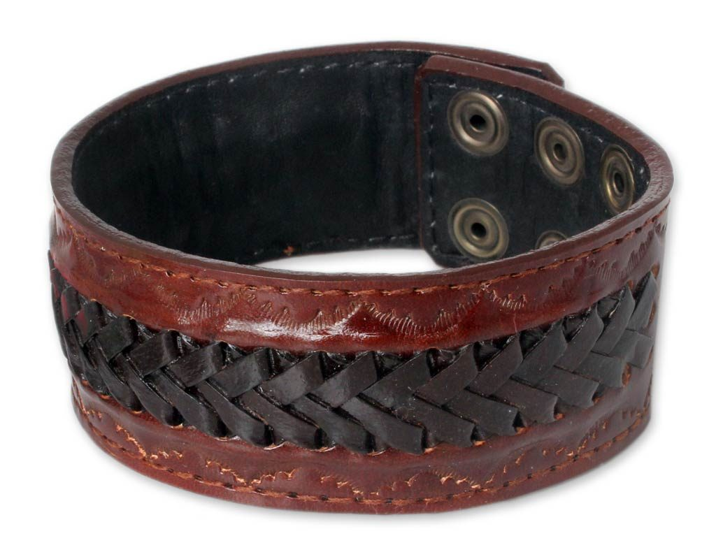 Men's leather wristband bracelet Chiang Rai Trek jewelry handmade NOVICA gifts Fair Trade