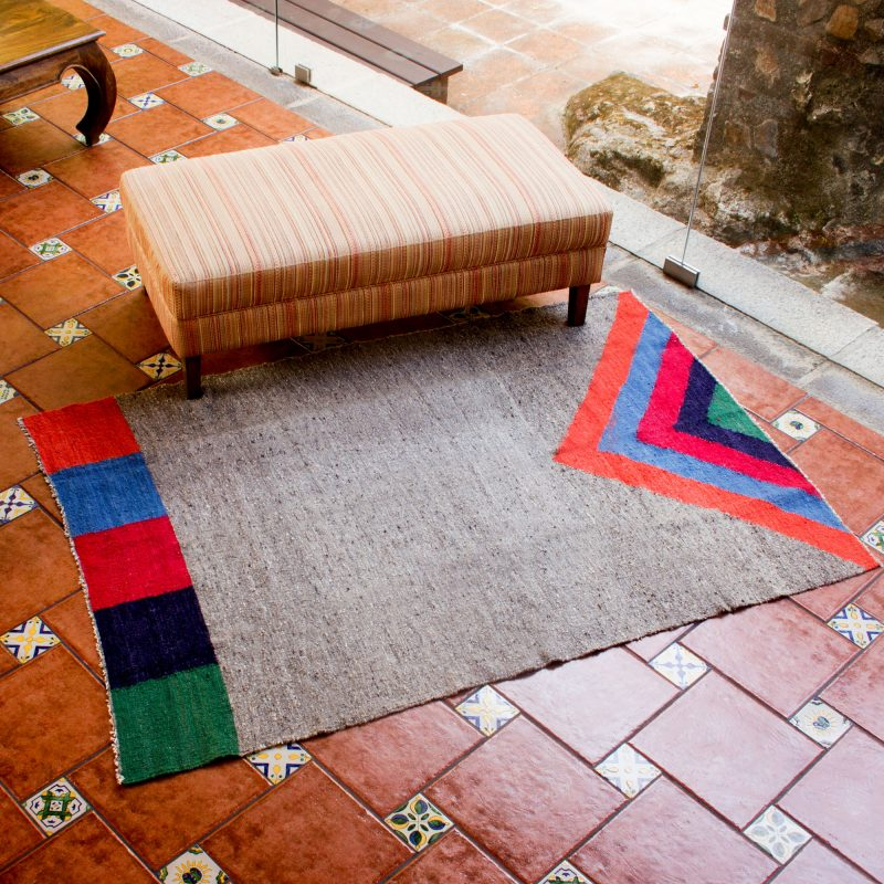 Geometric Wool Area Rug from Central America, 'Volcano in Color'