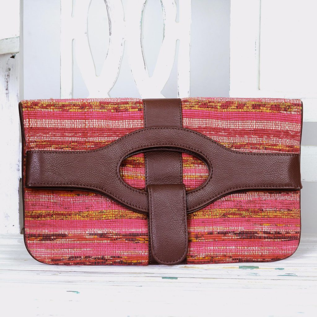 Leather Accent Cotton Convertible Clutch Handbag from India, 'Bengali Bohemian' Red Orange