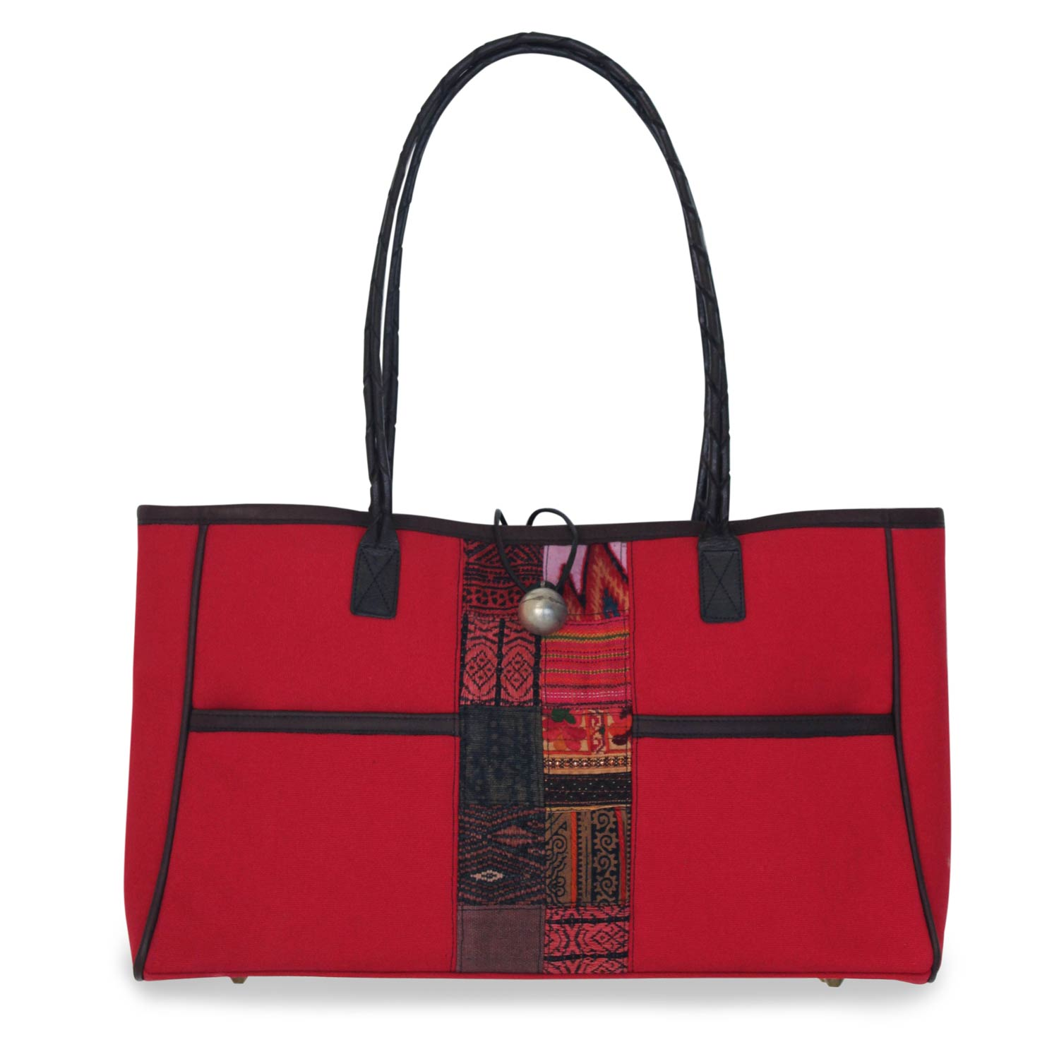 Cotton shoulder bag, 'Tribal Red' Leather Accents Tote