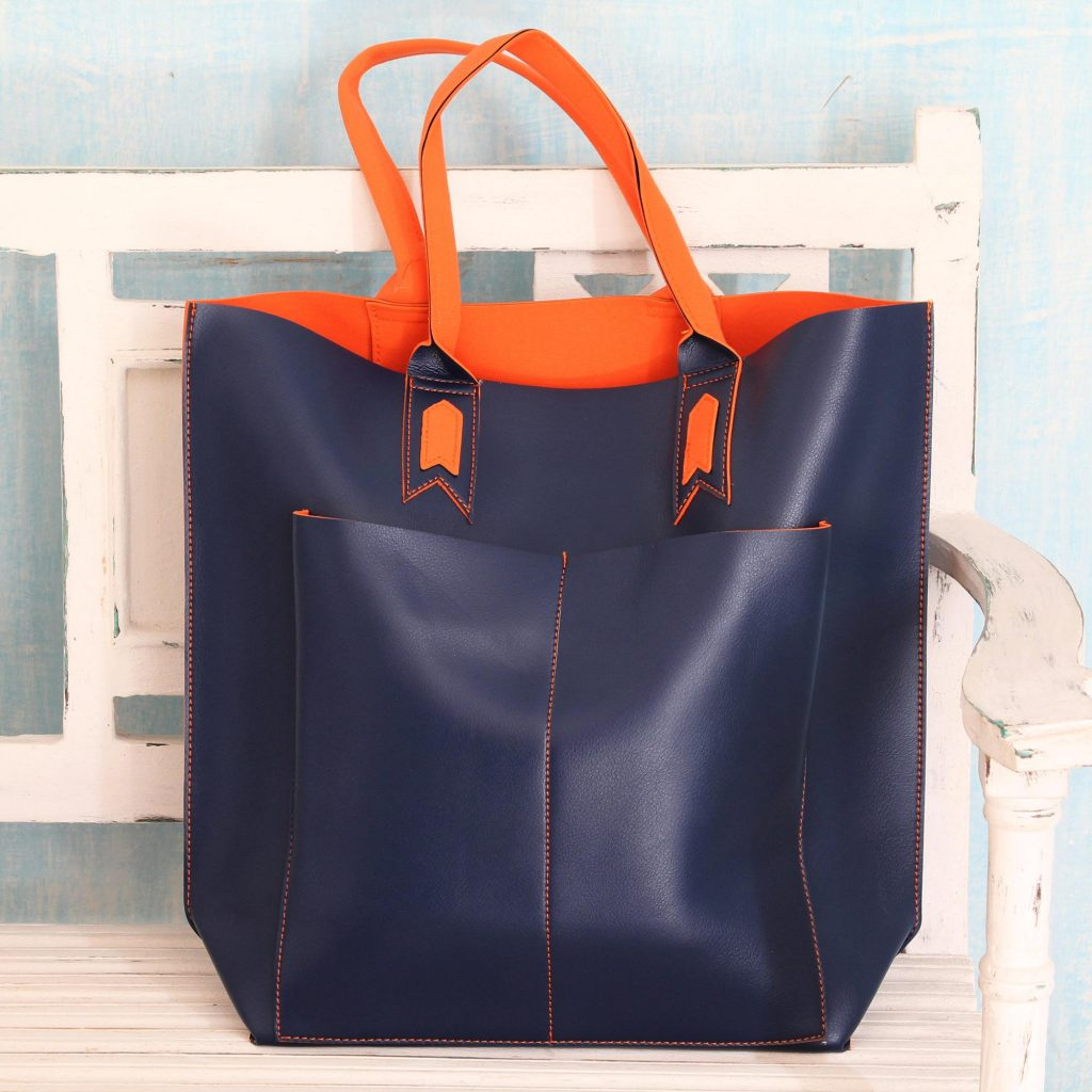 Handcrafted Navy Blue Tote Bag with Orange Accents, 'Versatile Navy' Large