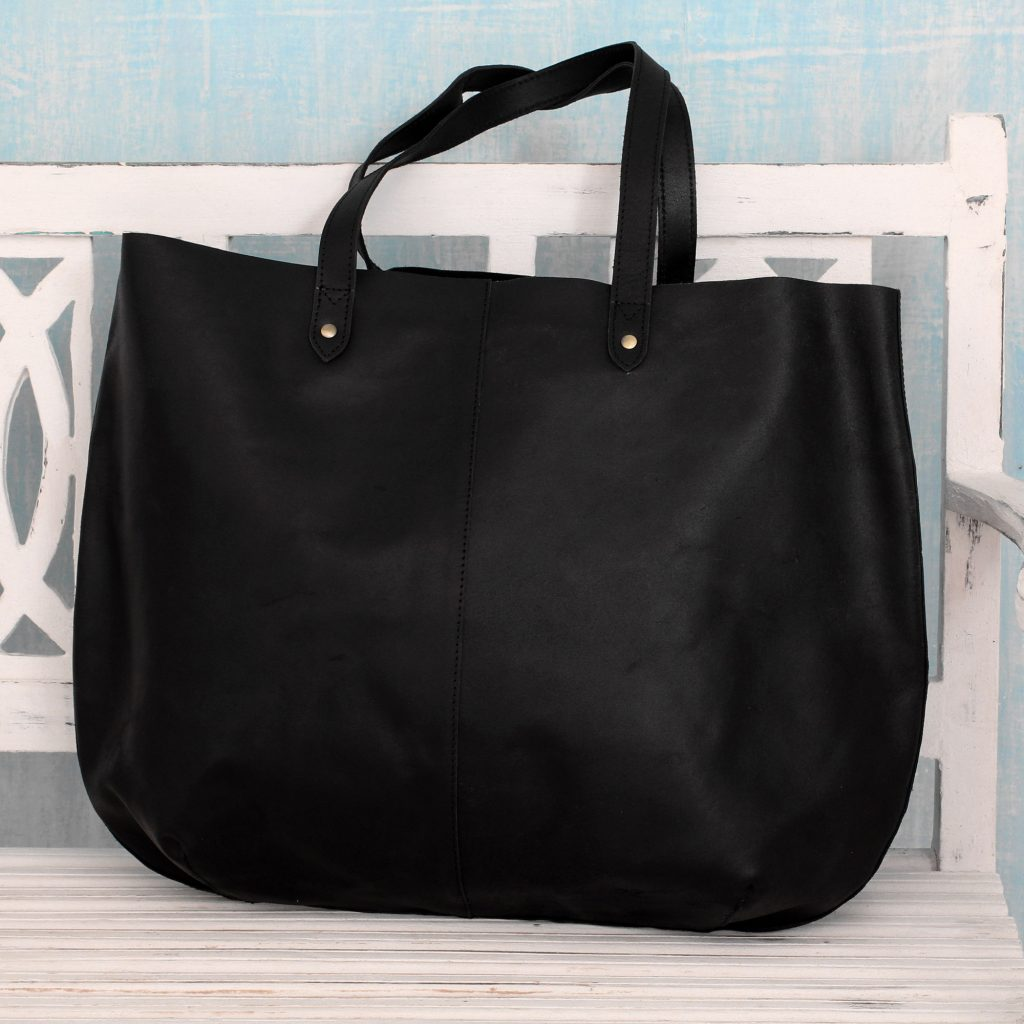 India Large Open Unlined Black Leather Tote Handbag, 'Mumbai Midnight'