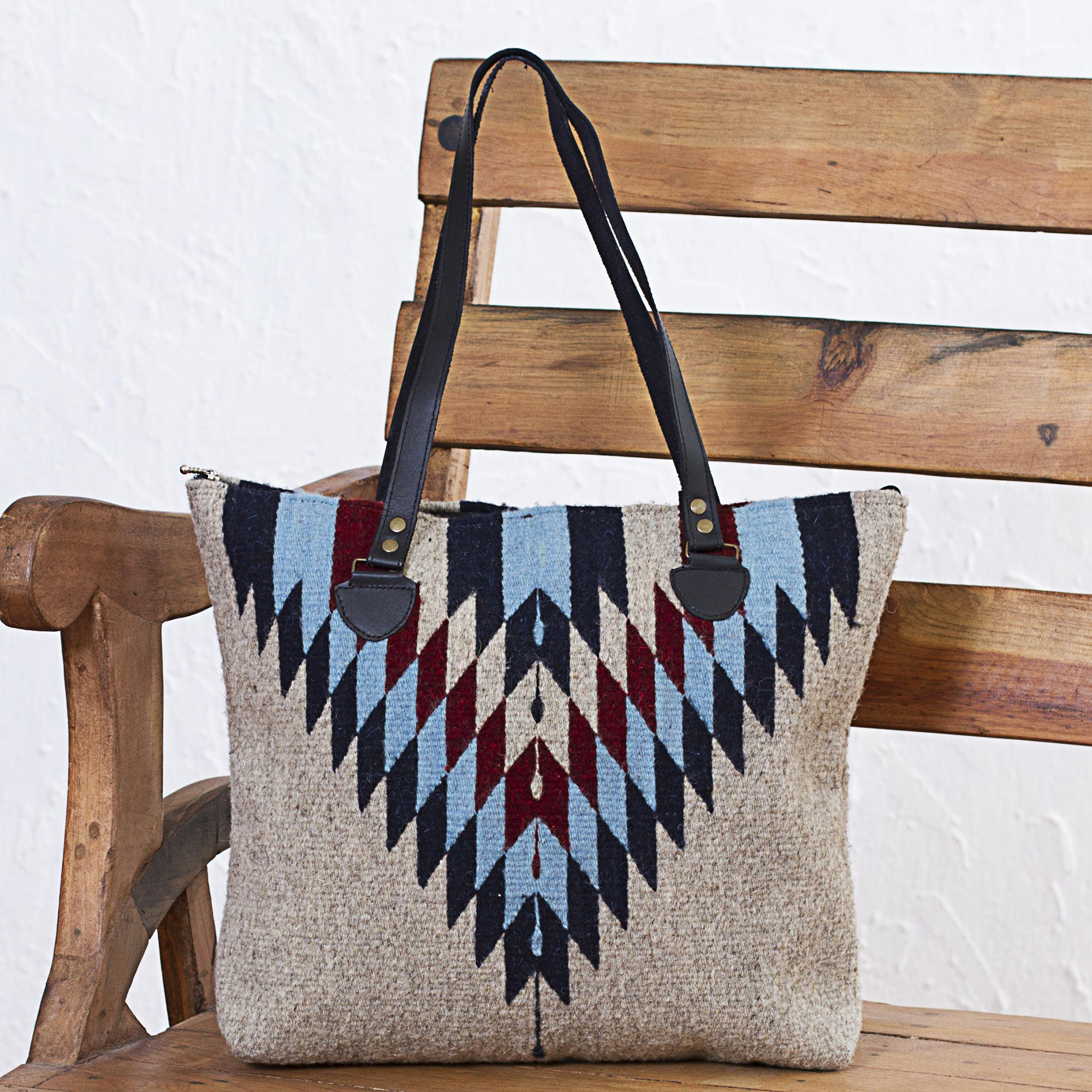 Wool Shoulder Bag with Geometric Diamond Pattern and Leather, 'Diamond Bliss'
