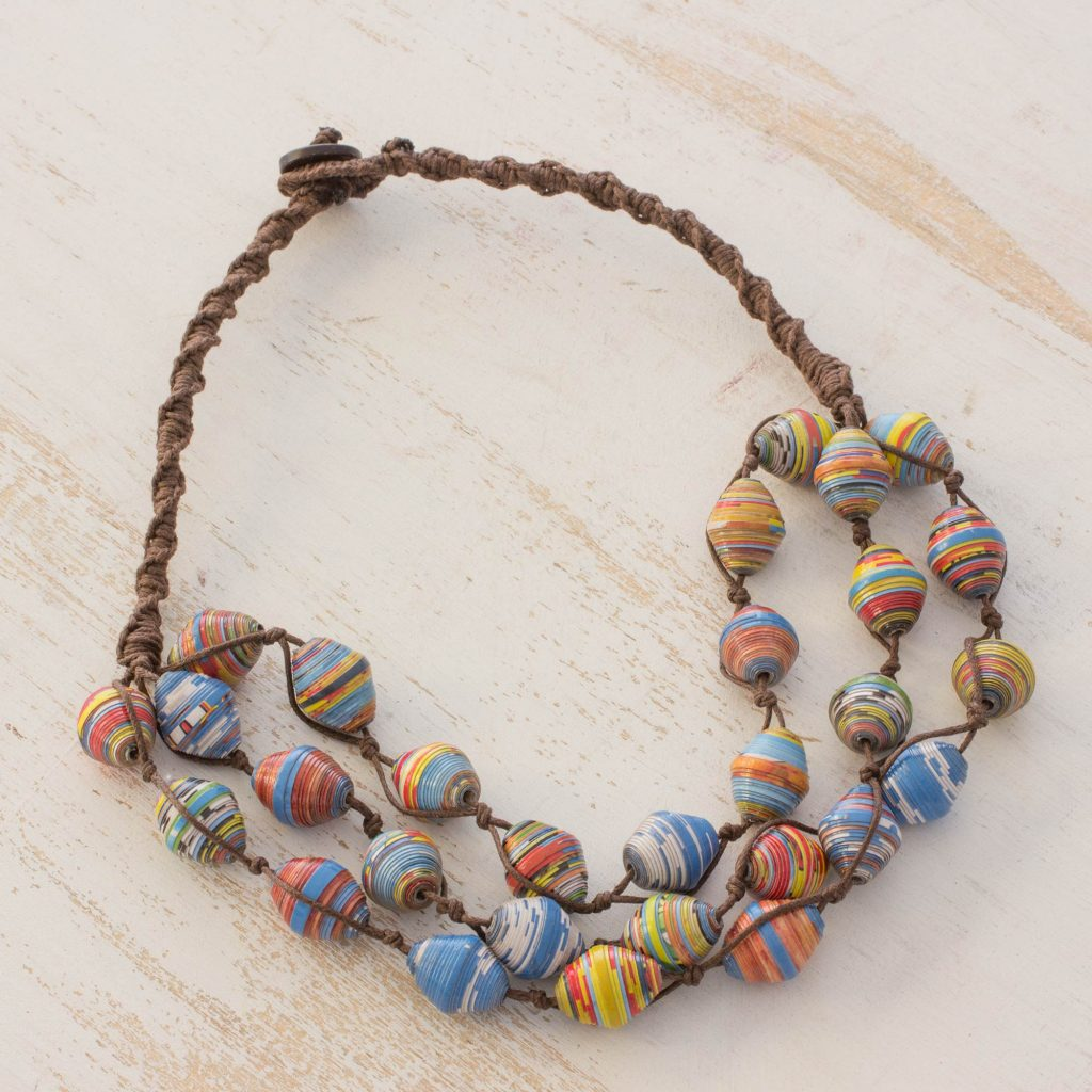 Recycled paper and cotton beaded necklace Illusion first anniversary