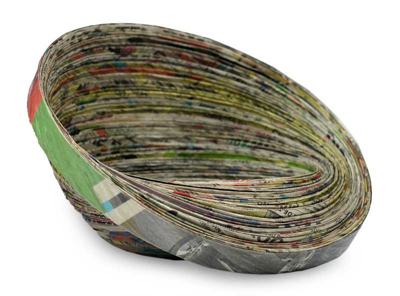Recycled paper decorative bowl Abstract News centerpiece art NOVICA Fair trade