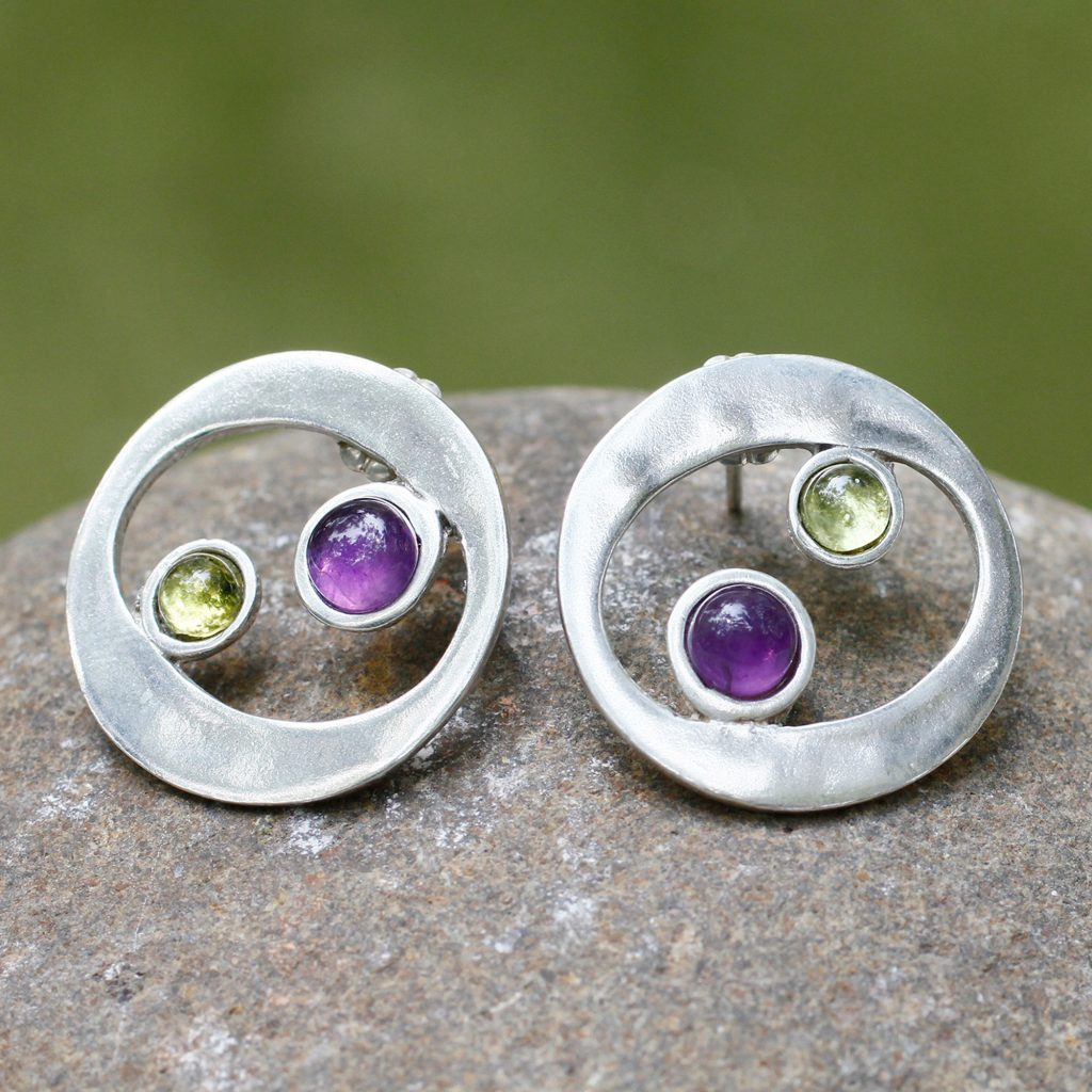 Unique Sterling Silver Amethyst and Peridot Earrings, 'Drifters'