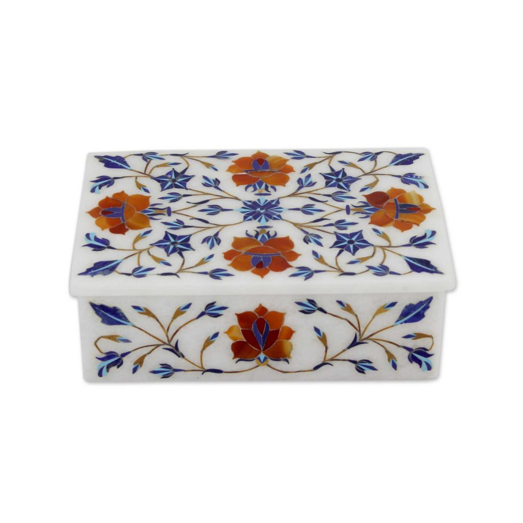Hand Crafted Flower Theme Marble Inlay Jewelry Box, 'Marigolds'