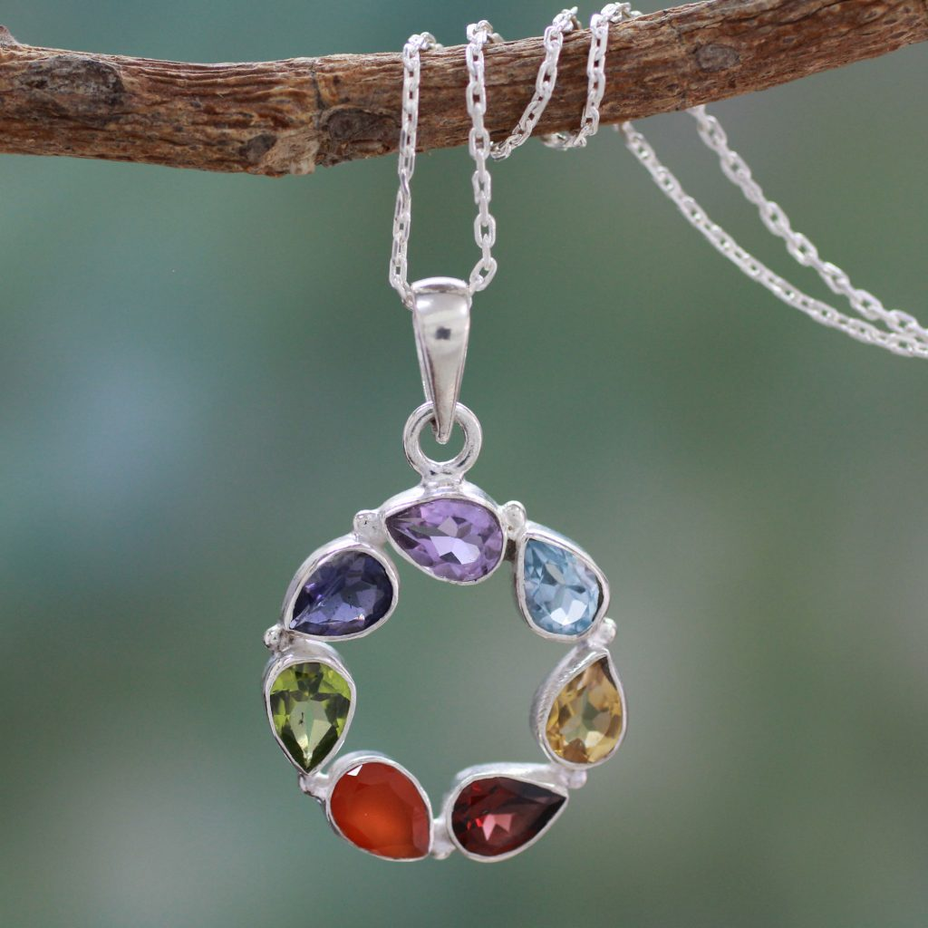 Multi-gemstone Necklace Chakra Jewelry from India, 'Peace Within'