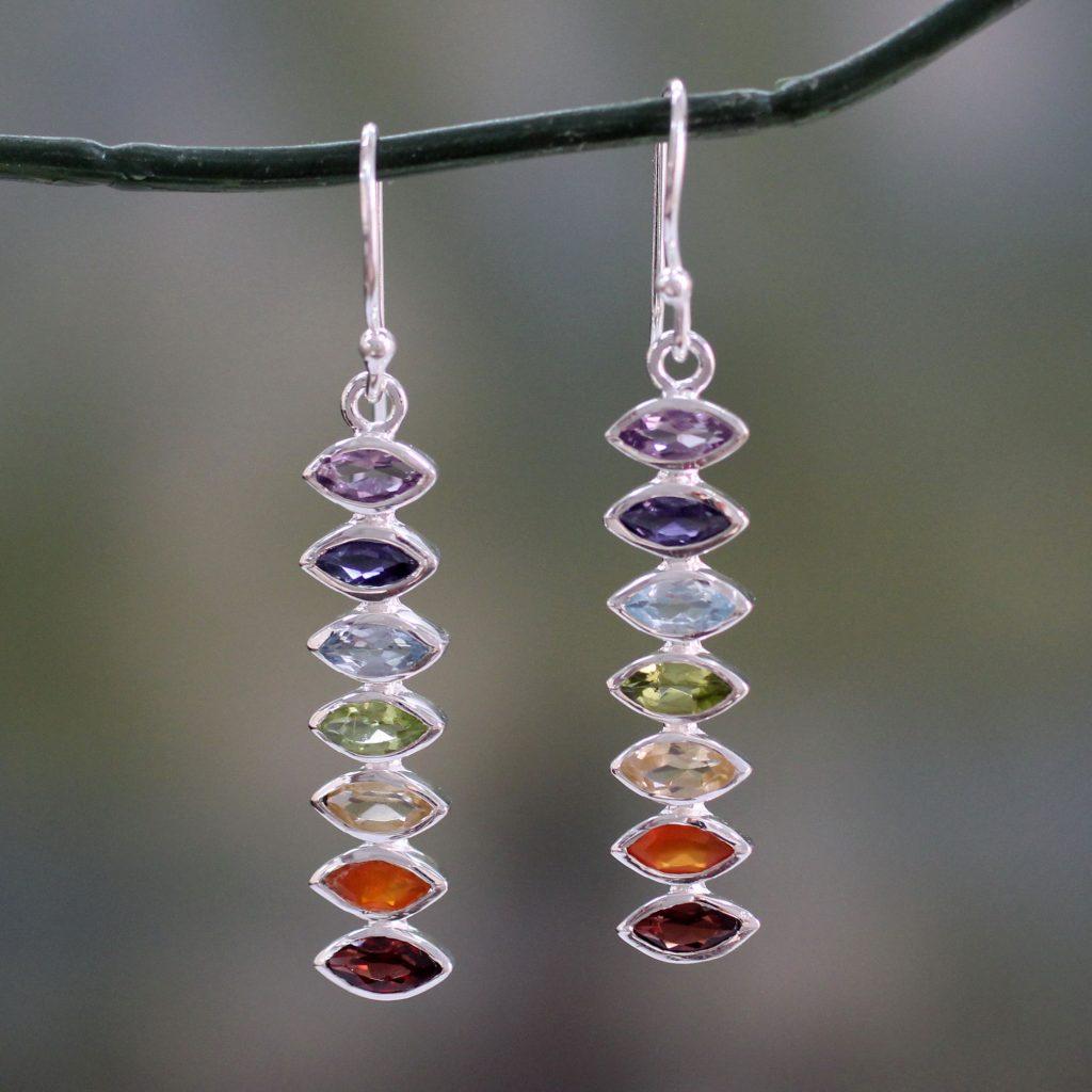 Seven-Gemstone Dangle Earrings in 925 Sterling Silver, 'Chakra Balance'
