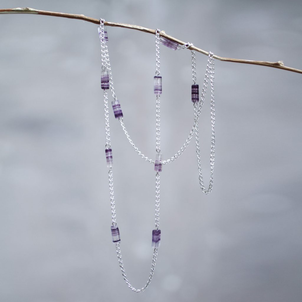 Long Sterling Silver Station Necklace with Lilac Tourmaline, 'Spaces'
