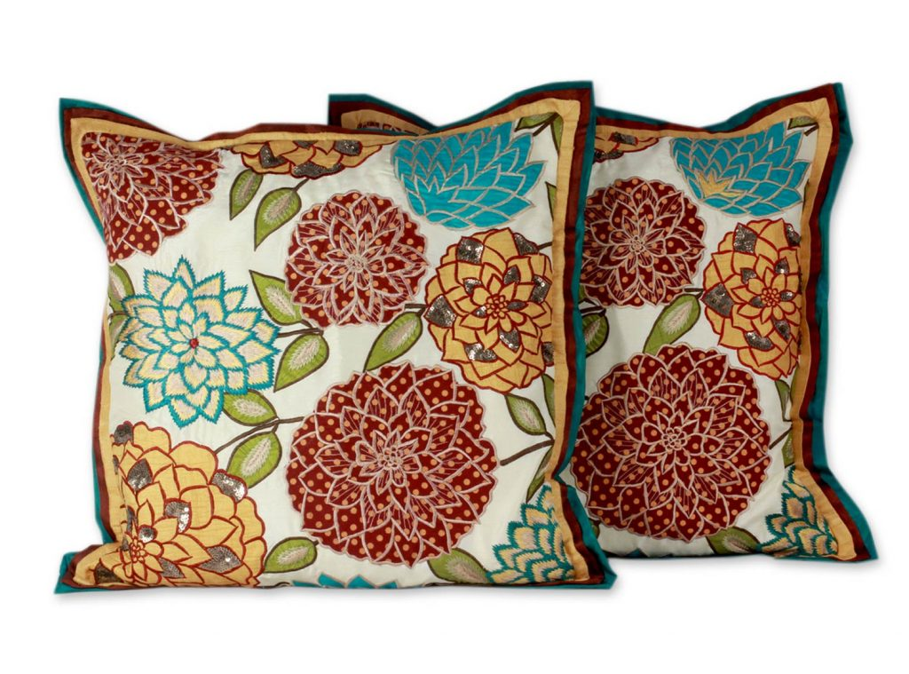 Floral Patterned Cushion Covers (Pair), 'Indian Marigolds'