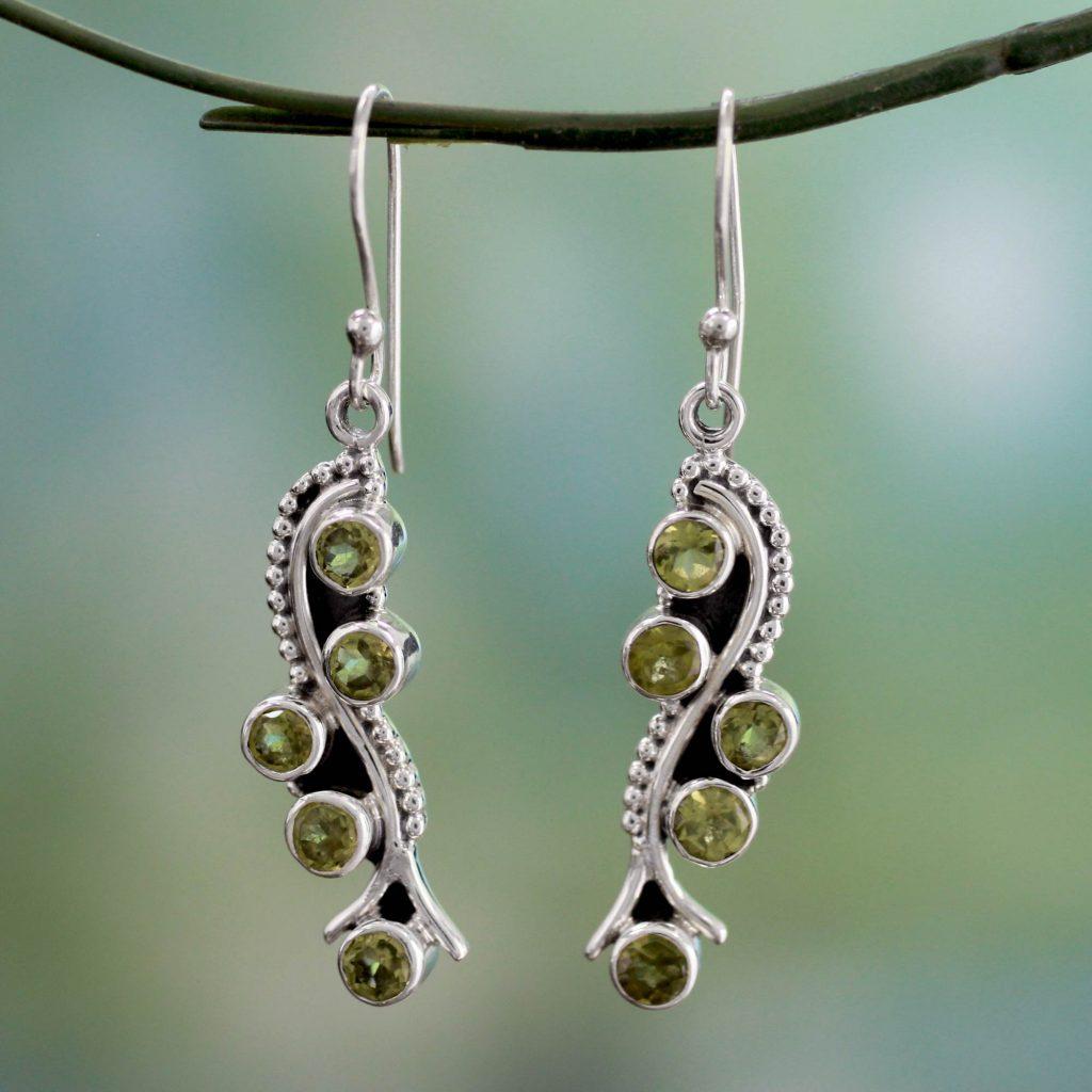Sterling Silver Earrings with Peridot 2.5 Carats, 'Natural Glow' dangle earrings. Hooks NOVICA Fair Trade
