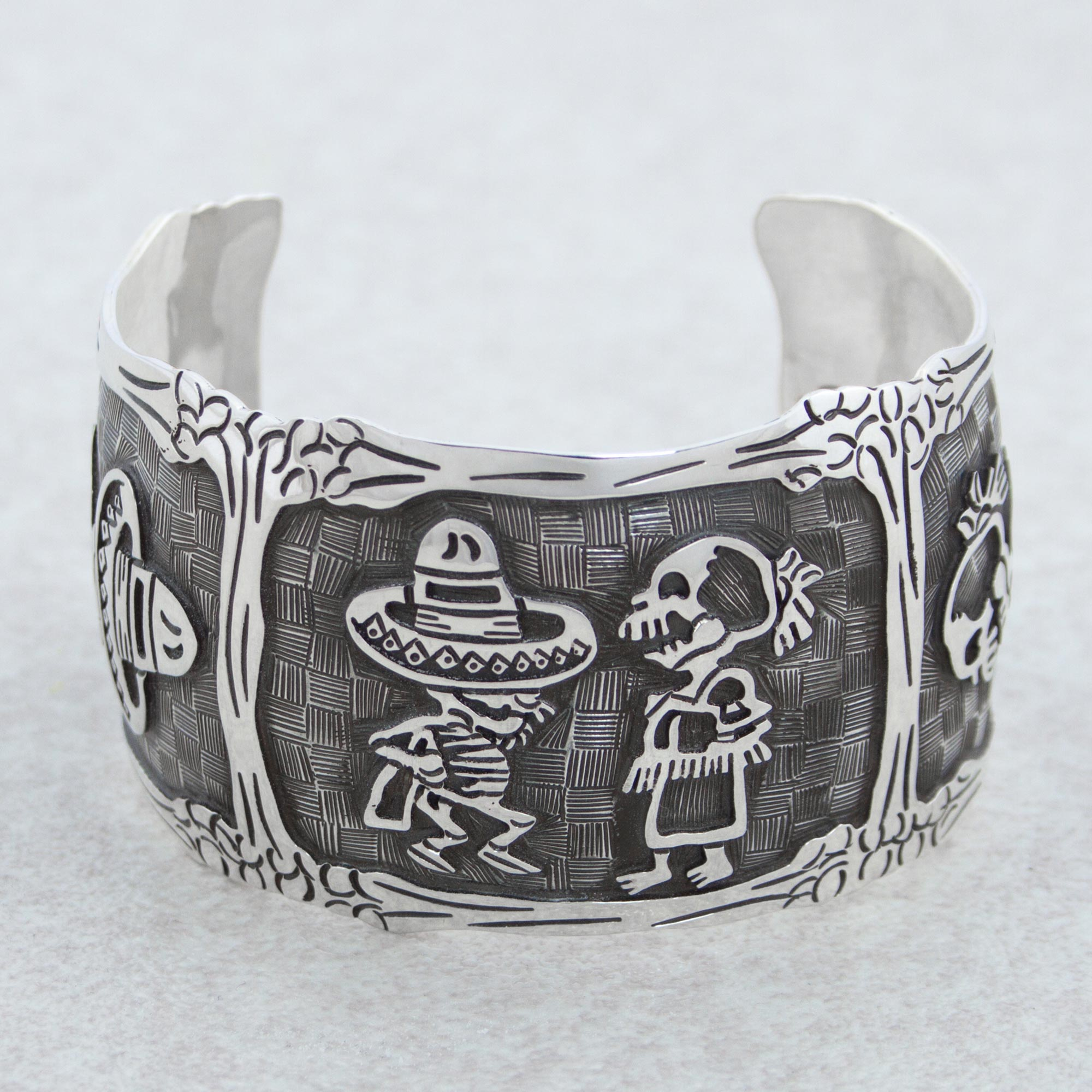 Mexican Day of the Dead Sterling Silver Cuff Bracelet, 'Skeletal Hat Dance'