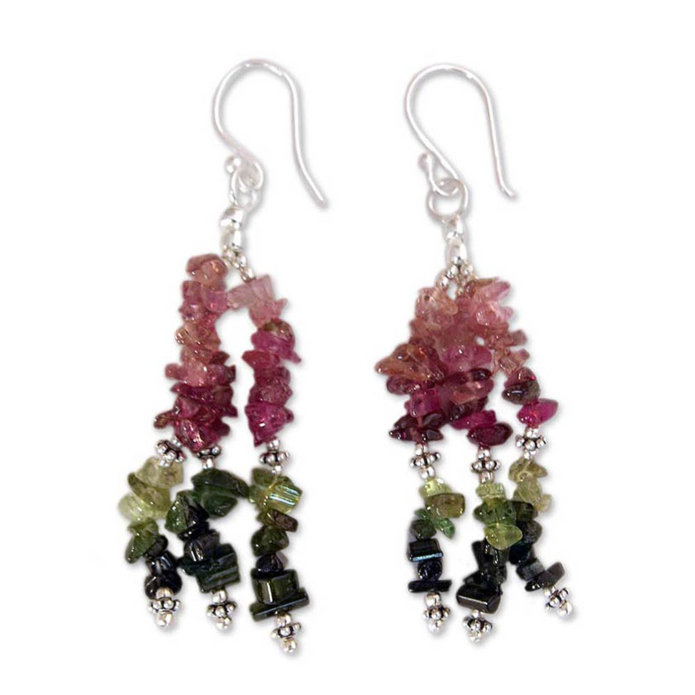 Multi-color Tourmaline and Sterling Silver Artisan Jewelry, 'Rejoice'