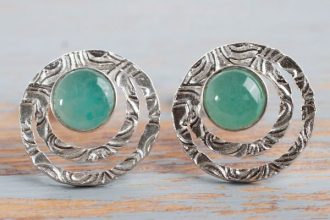 Handcrafted Sterling Silver and Green Opal Button Earrings, 'Green Vibrations'