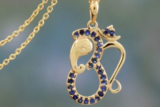 Sapphire and Gold Vermeil Necklace, 'Ganesha's Om'