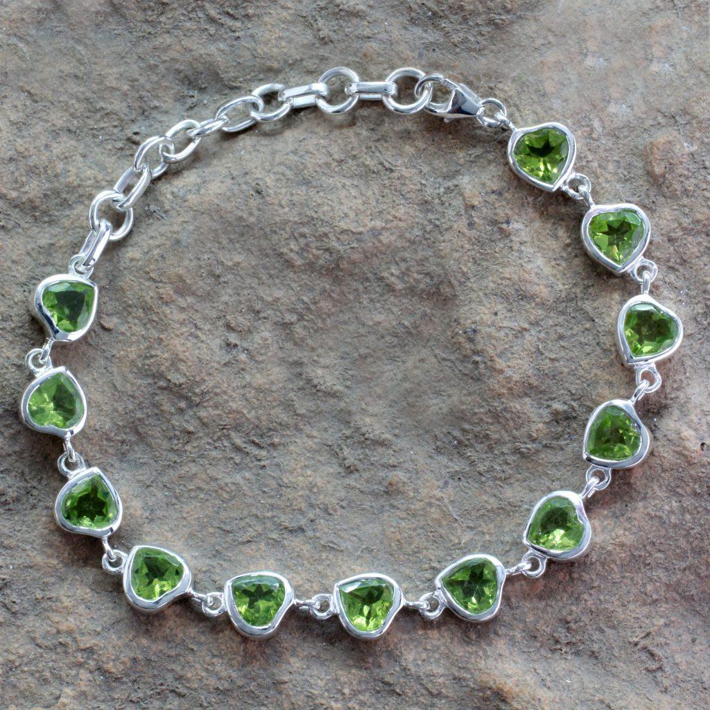 Romantic Peridot Heart Bracelet, 'Romantic' Sterling Silver links chain NOVICA jewelry