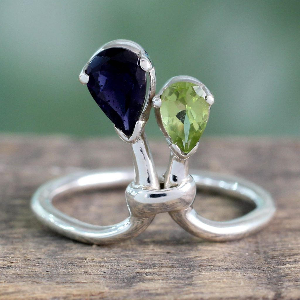 Iolite and Peridot Ring India Silver Jewelry, 'You and Me'