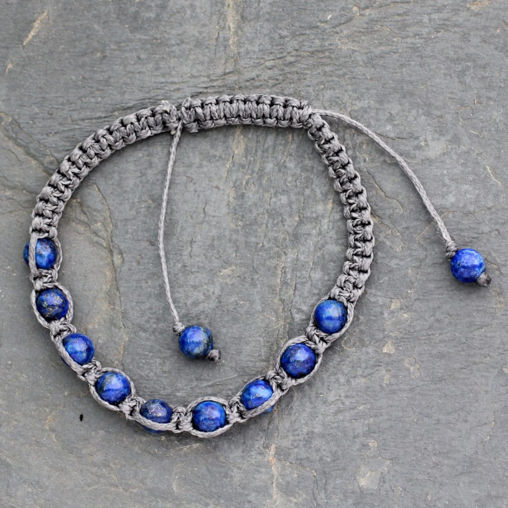 Lapis lazuli Shambhala style macrame Shamballa bracelet, 'Truth and Prayer' Chakra India NOVICA Fair Trade