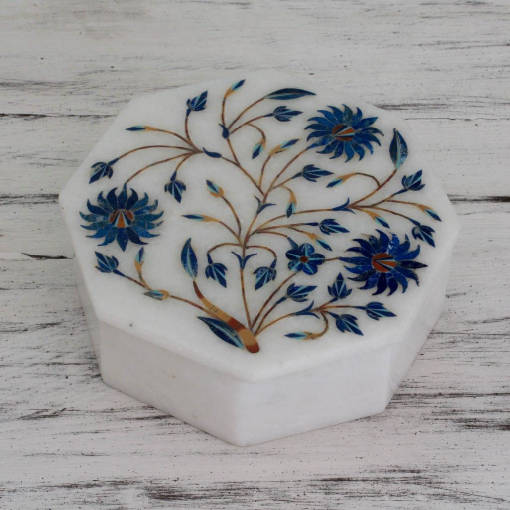 lapis lazuli dust inlaid floral marble jewelry box NOVICA Fair Trade Trinket box Keepsake box
