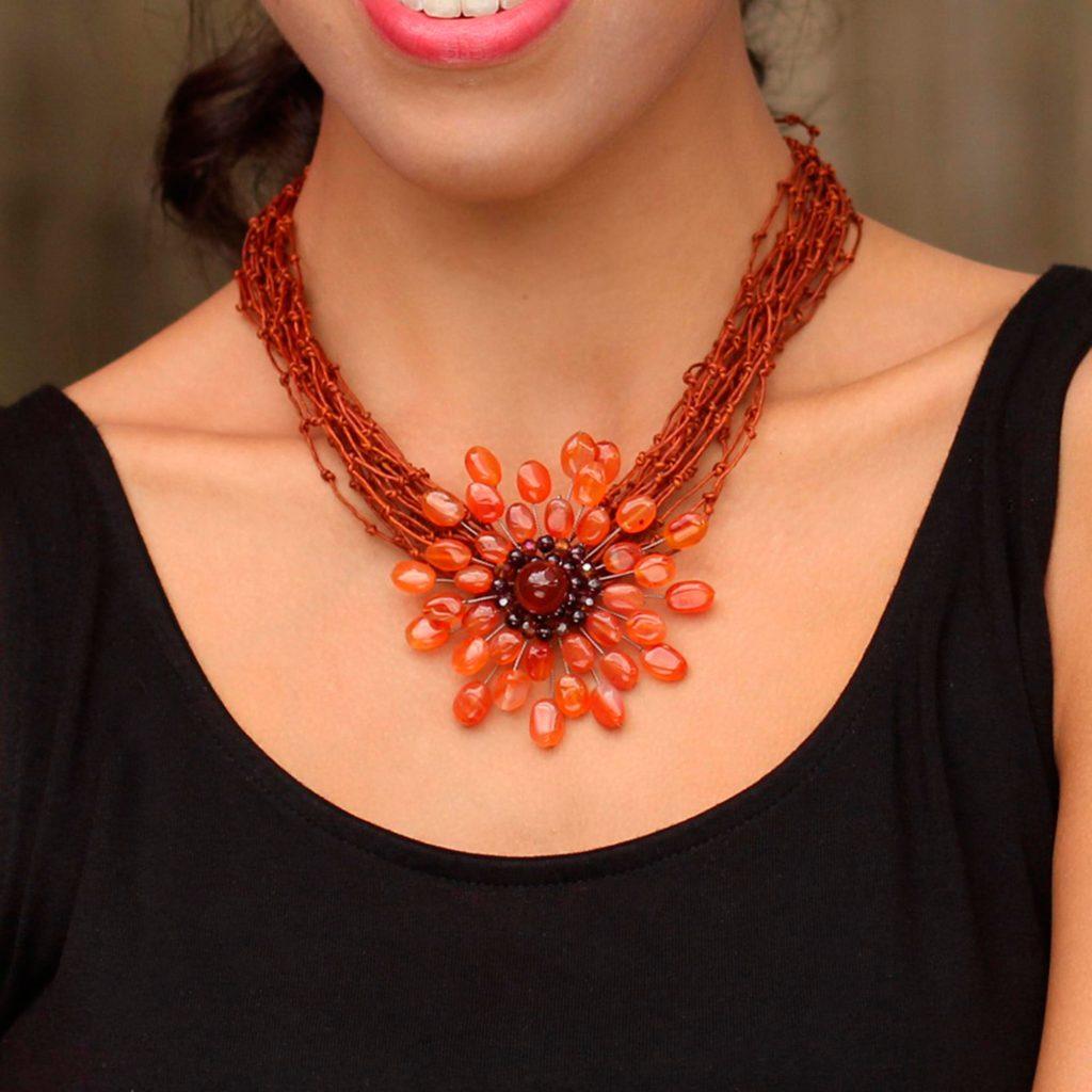 Fair Trade Floral Carnelian Necklace, 'Bold Marigold'