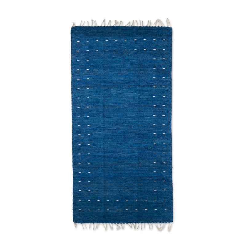 Hand Woven Wool Area Rug in Royal Blue 'Regal Moon, Home, handmade rug, home decor ,