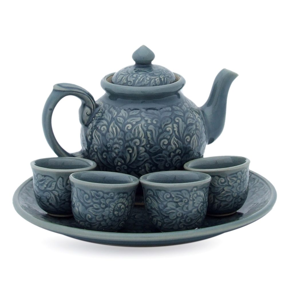 Celadon ceramic tea set (Set for 4), 'Botanical Heaven' teapot serving plate tea cups blue