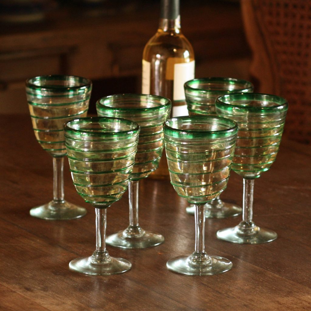 Hand Made Mexican Handblown Glass Striped Wine Goblets, 'Green Spiral'