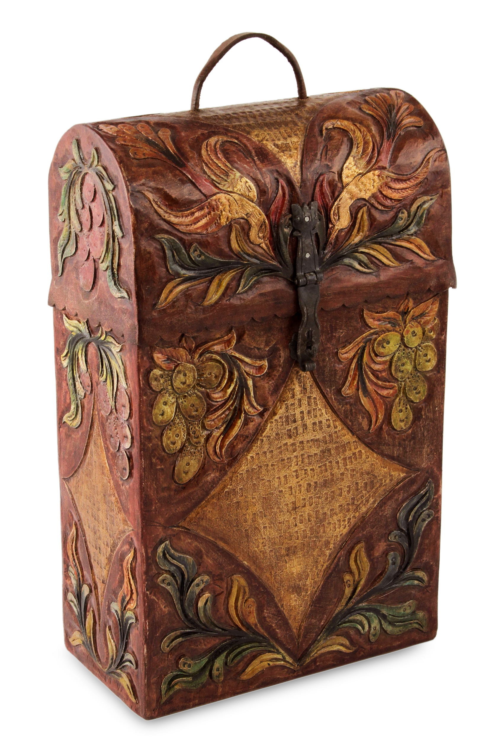 Handcrafted Tooled Leather Wine Case, 'Colonial Vineyard'