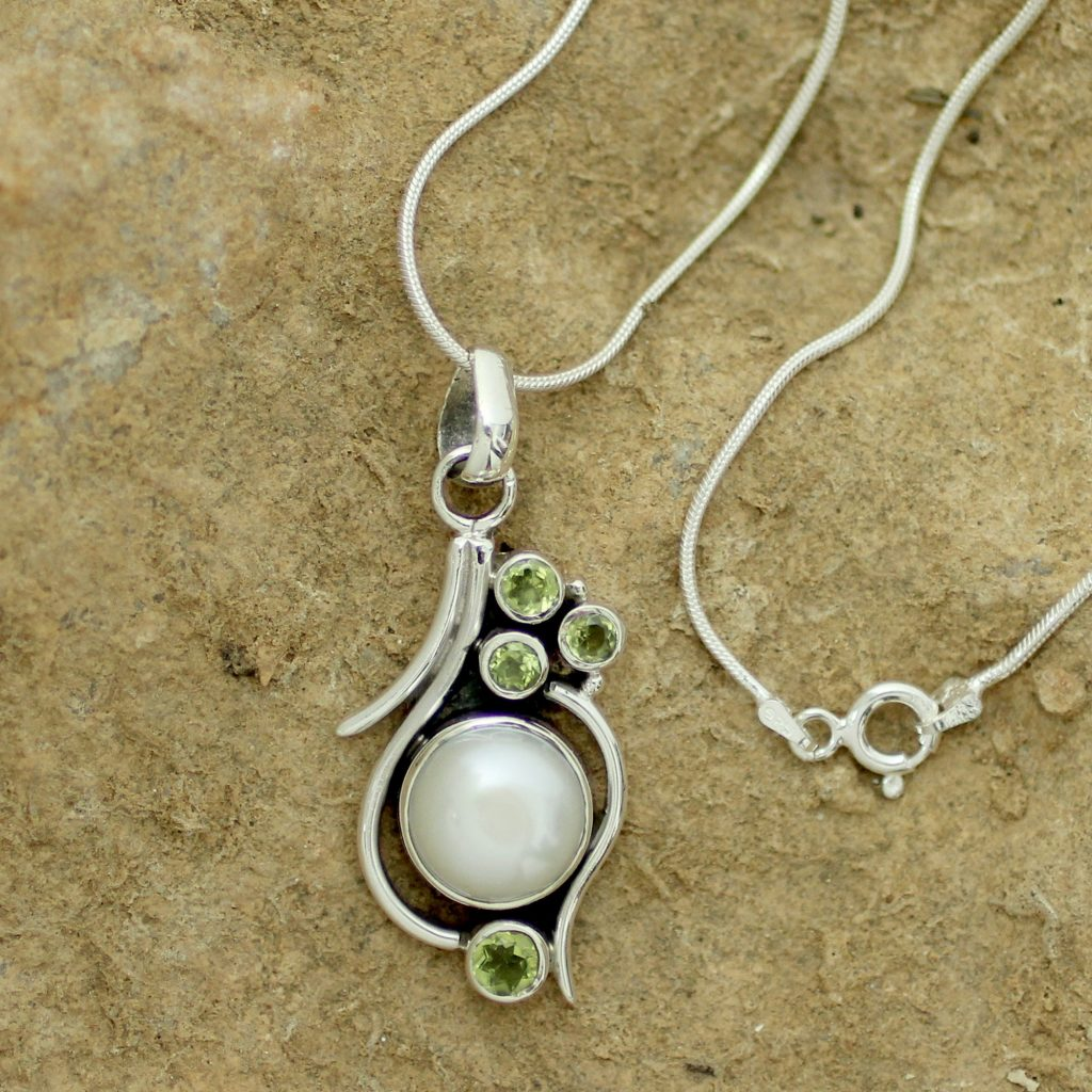 Cultured Pearl Peridot and Sterling Silver Necklace , 'Sublime India'